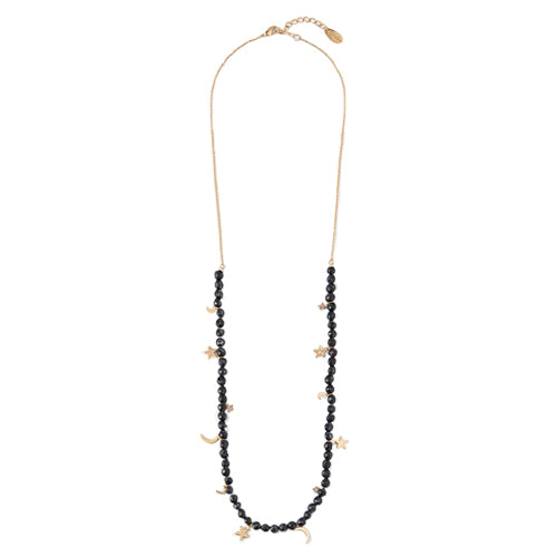 Orelia Long Beaded Star and Moon Necklace
