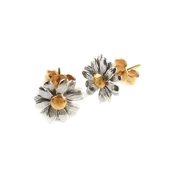 Alex Monroe - Alex Monroe Little Daisy Stud Earrings - Designer Earrings - Silverado
