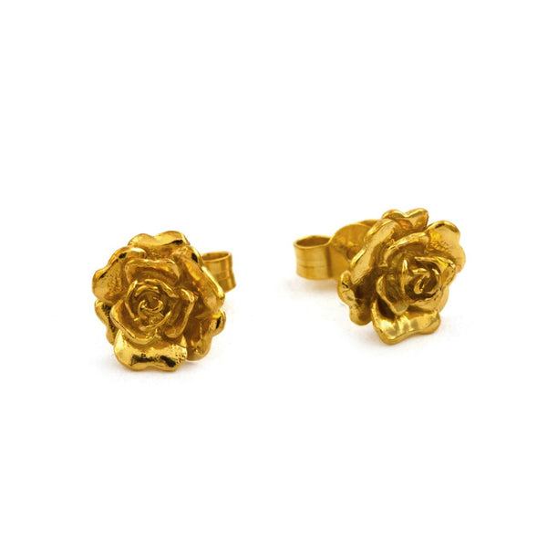 Alex Monroe - Alex Monroe Rosa Damasca Stud Earrings - Designer Earrings - Silverado