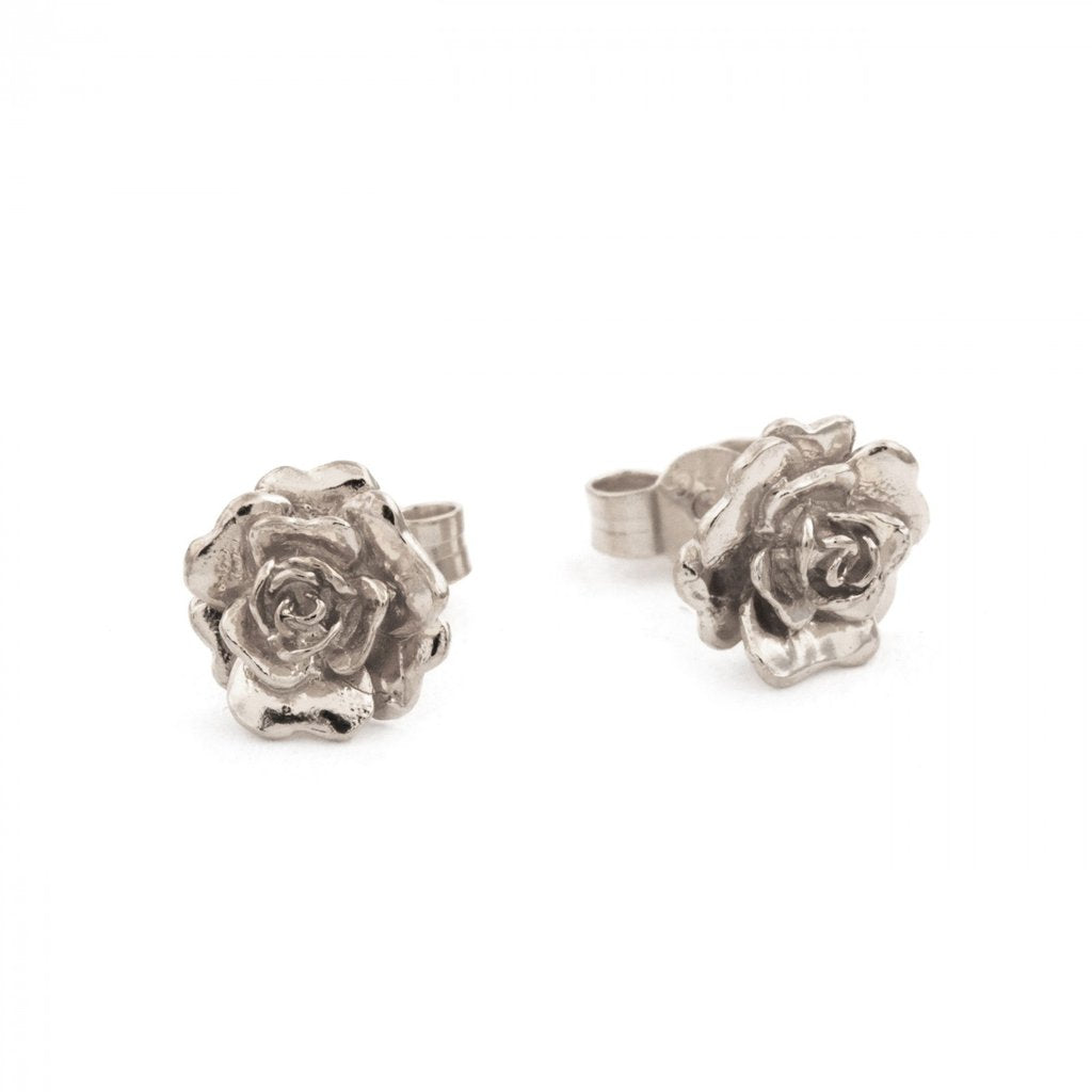 Alex Monroe - Alex Monroe Silver Rosa Damasca Stud Earrings - Designer Earrings - Silverado
