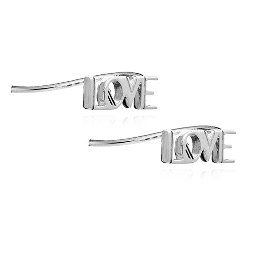 Rachel Jackson Silver Love Crawler Earrings