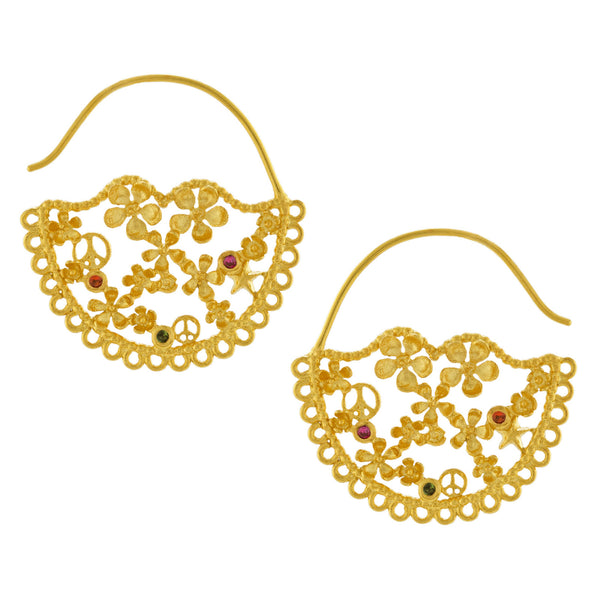Alex Monroe - Alex Monroe Flower Power Lace-Edged Hoop Earrings - Designer Earrings - Silverado
