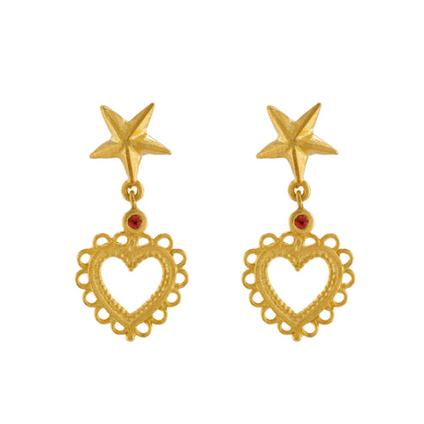 Alex Monroe Star Stud Earrings with Lace Edged Heart Drop