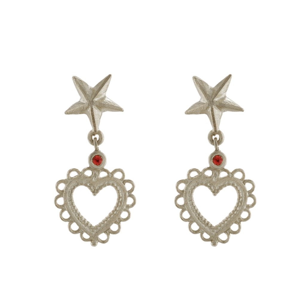 Alex Monroe - Alex Monroe Silver Star Stud Earrings with Lace Edged Heart Drop - Designer Earrings - Silverado