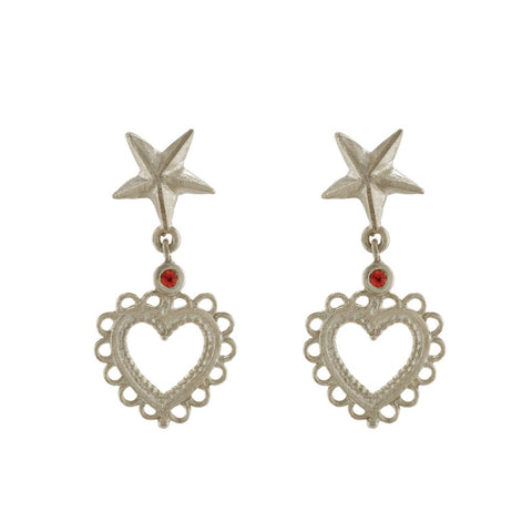 Alex Monroe Silver Star Stud Earrings with Lace Edged Heart Drop