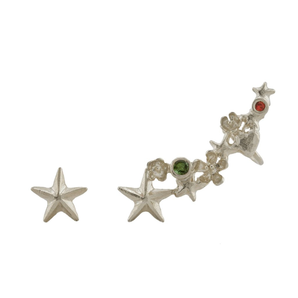 Alex Monroe - Alex Monroe Silver Asymmetric Celestial Climber Earrings - Designer Earrings - Silverado