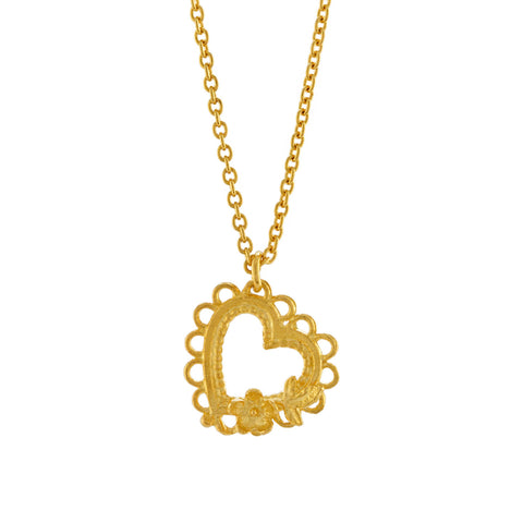 Alex Monroe Lace-Edged Heart and Flower Necklace