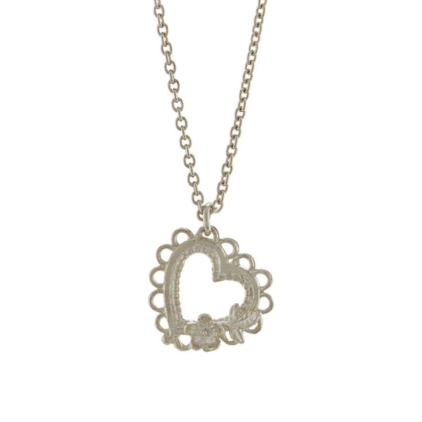 Alex Monroe - Alex Monroe Silver Lace-Edged Heart and Flower Necklace - Designer Necklaces - Silverado