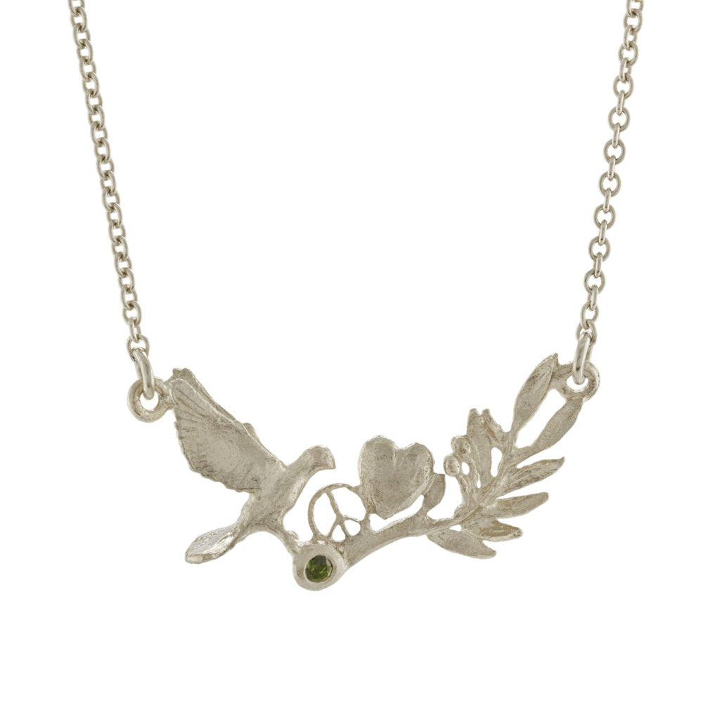 Alex Monroe - Alex Monroe Silver Dove and Olive Branch Necklace - Designer Necklaces - Silverado
