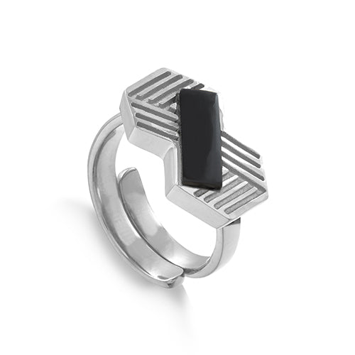 SVP Jewellery Silver Infinity Ring with Black Onyx