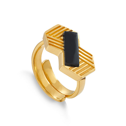 SVP Jewellery Infinity Ring - Black Quartz