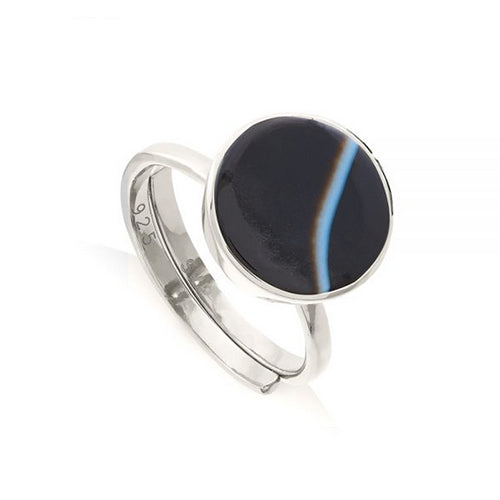 SVP Jewellery - SVP Jewellery Silver and Striped Black Agate Moondance Ring - Designer Rings - Silverado