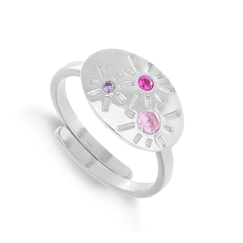 SVP Jewellery 'Dynamite' Silver and Mixed Pink Quartz Ring