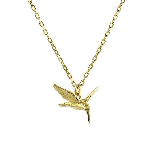 Alex Monroe - Alex Monroe Teeny Tiny Hummingbird - Designer Necklaces - Silverado