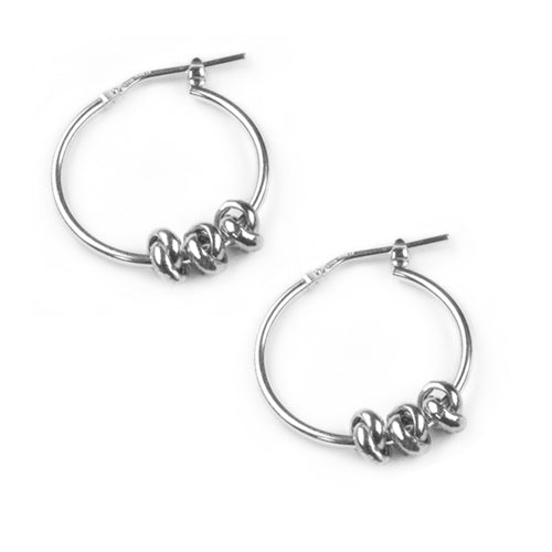 Tales From The Earth Three Knot Hoops - Silver