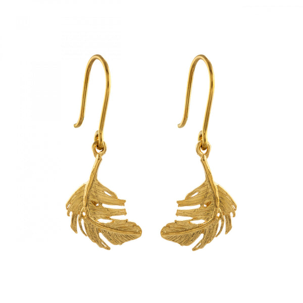 Alex Monroe - Alex Monroe Little Feather Hook Earrings - Designer Earrings - Silverado