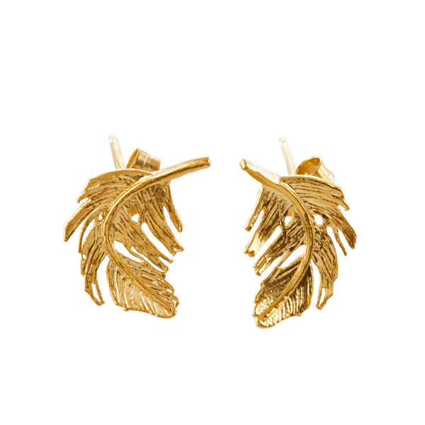 Alex Monroe - Alex Monroe Feather Stud Earrings - Designer Earrings - Silverado