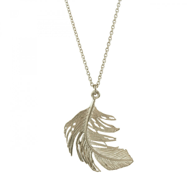 Alex Monroe - Alex Monroe Silver Feather Necklace - Designer Necklaces - Silverado