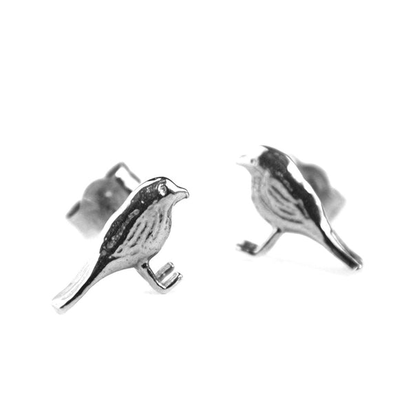Alex Monroe - Alex Monroe Silver little Robin Studs - Designer Earrings - Silverado