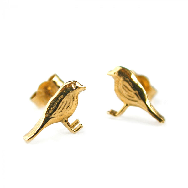Alex Monroe - Alex Monroe Little Robin Studs - Designer Earrings - Silverado