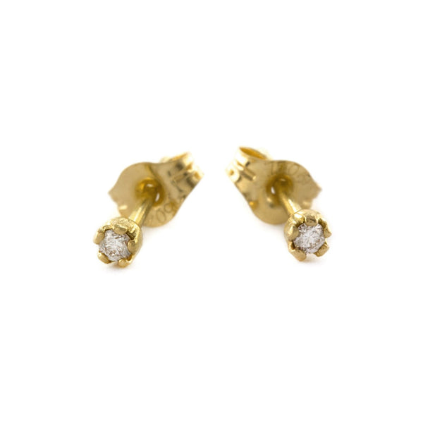 Alex Monroe - Alex Monroe Tiny Diamond Stud Earrings - Silverado - Designer Earrings - 1