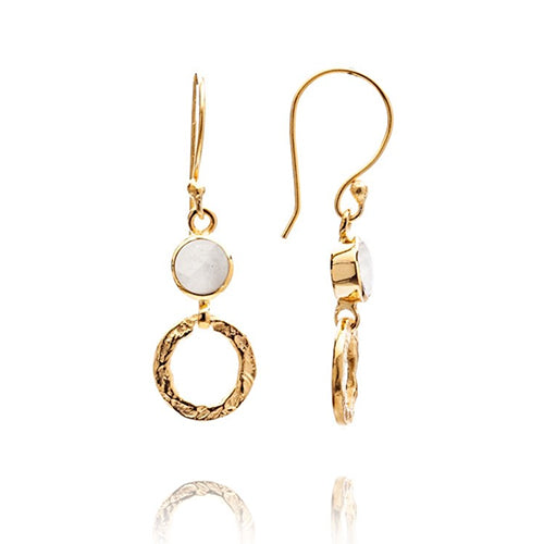 Azuni - Azuni Small Moonstone Hoop Earrings - Designer Earrings - Silverado