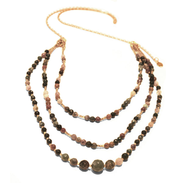 Azuni - Azuni Jasper Layered Necklace - Designer Necklaces - Silverado
