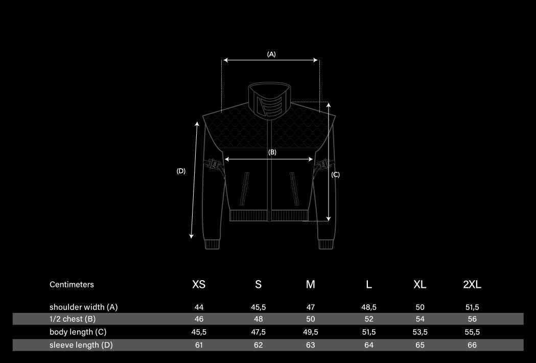 Industrial Cropped Kata Jacket Size Chart