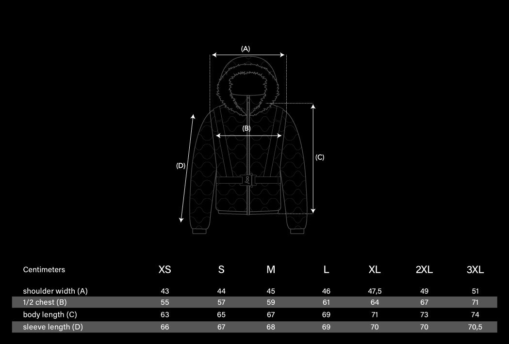 Tech Puffer Jacket Size Chart