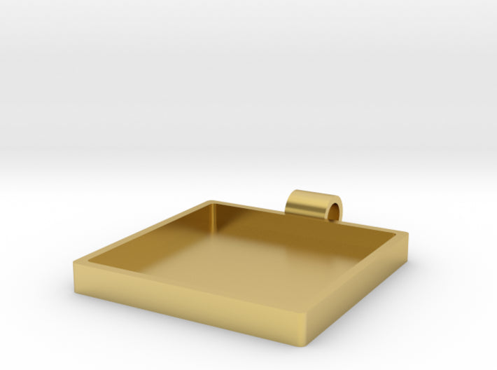 Champleve Rectangle 30mm Frame Pendant 3d printed Polished Brass