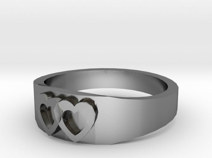 Silver Two Hearts Wedding Ring (half sizes 1.5-13) 3d printed