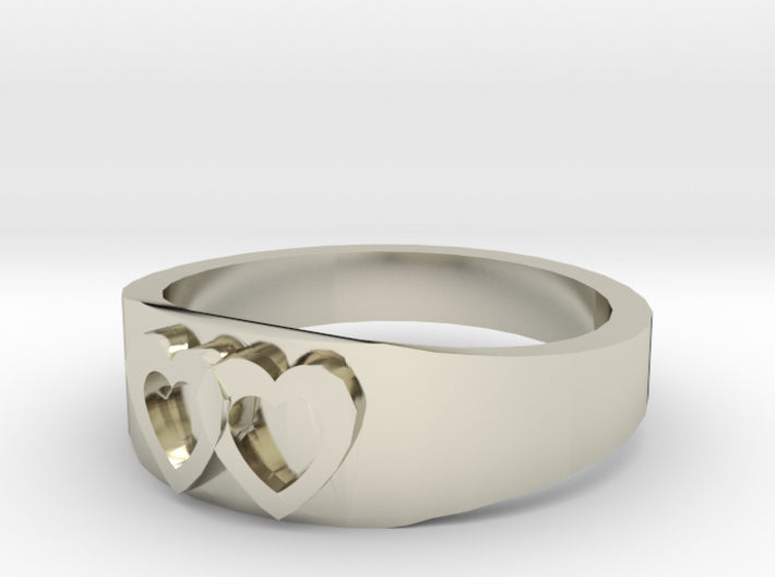 Gold Two Hearts Wedding Ring (half sizes 1.5-13.0) 3d printed