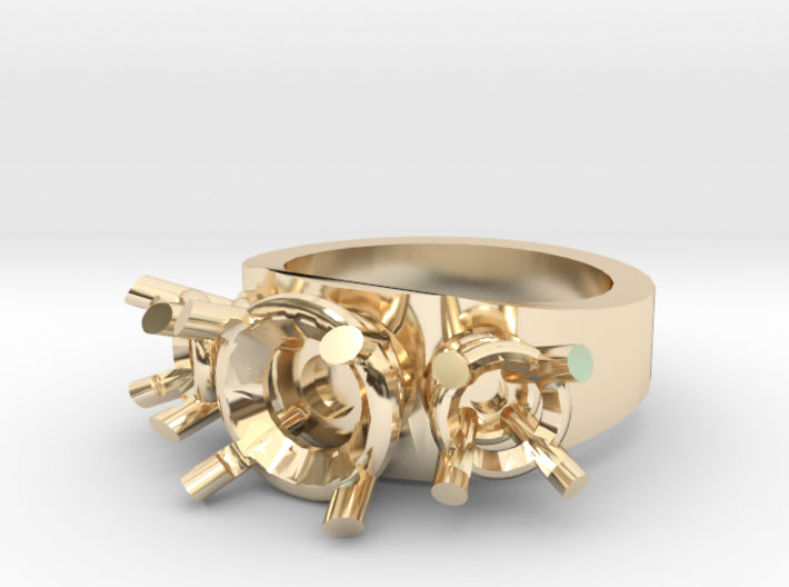 DIY Glamour 3 Gem Gold Ring (half sizes 1.5 - 13) 3d printed
