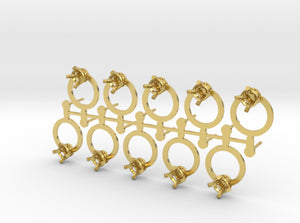 DIY Circle Post Earrings - 5 Pairs 3d printed Polished Brass