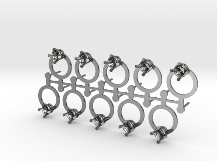 DIY Circle Post Earrings - 5 Pairs 3d printed Fine Detail Polished Silver