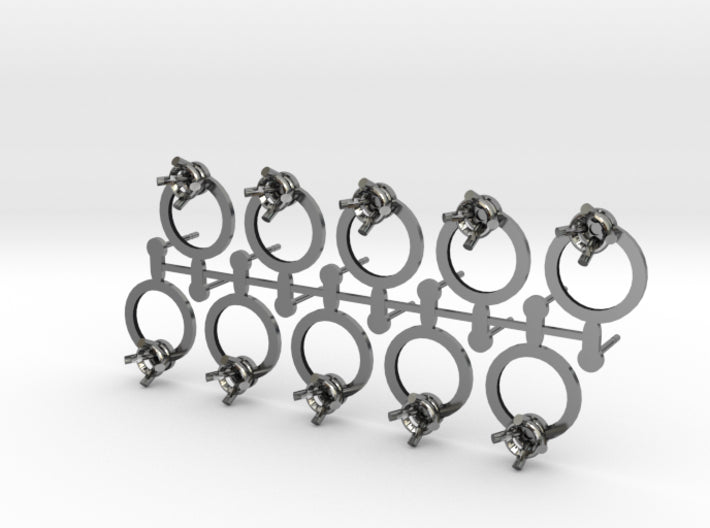 DIY Circle Post Earrings - 5 Pairs 3d printed Antique Silver