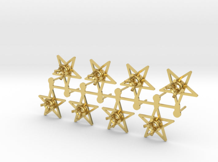 DIY Star Post Earrings - 4 Pairs 3d printed Polished Brass