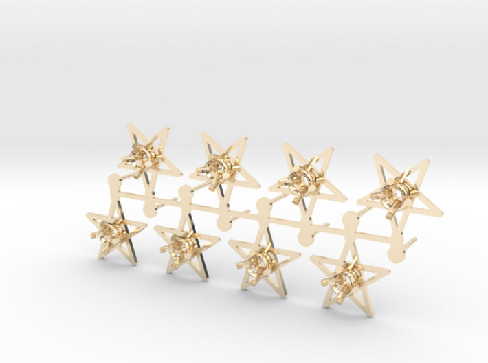DIY Star Post Earrings - 4 Pairs 3d printed 14K Yellow Gold