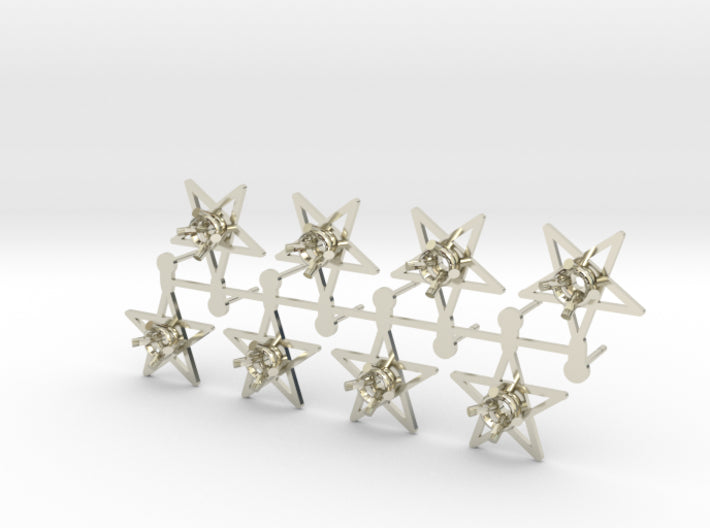 DIY Star Post Earrings - 4 Pairs 3d printed 14K White Gold