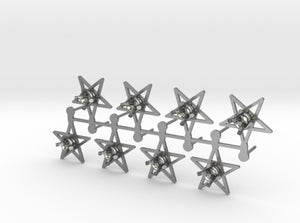 DIY Star Post Earrings - 4 Pairs 3d printed Natural Silver