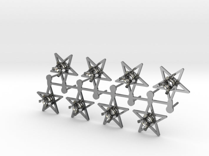 DIY Star Post Earrings - 4 Pairs 3d printed Polished Silver