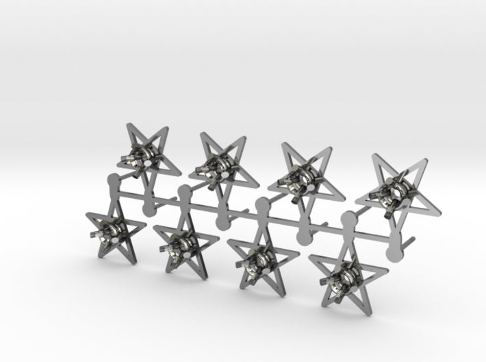 DIY Star Post Earrings - 4 Pairs 3d printed Fine Detail Polished Silver
