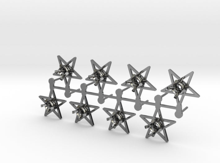 DIY Star Post Earrings - 4 Pairs 3d printed Antique Silver