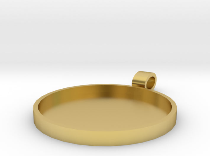 DIY Champleve Round 1 Inch Pendant 3d printed Polished Brass