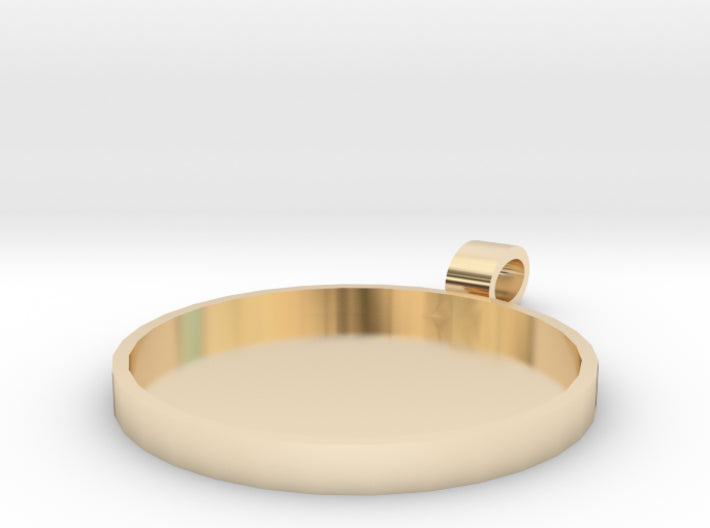 DIY Champleve Round 1 Inch Pendant 3d printed 14K Gold Plated Brass