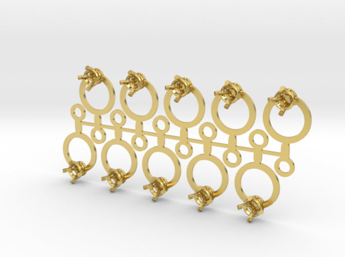 DIY Circle Drop Earrings - 5 Pairs 3d printed Polished Brass