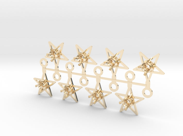 DIY Star Drop Earrings - 4 Pairs 3d printed 14K Yellow Gold