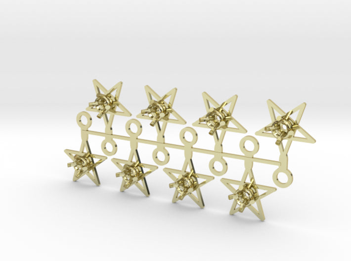 DIY Star Drop Earrings - 4 Pairs 3d printed 18K Yellow Gold