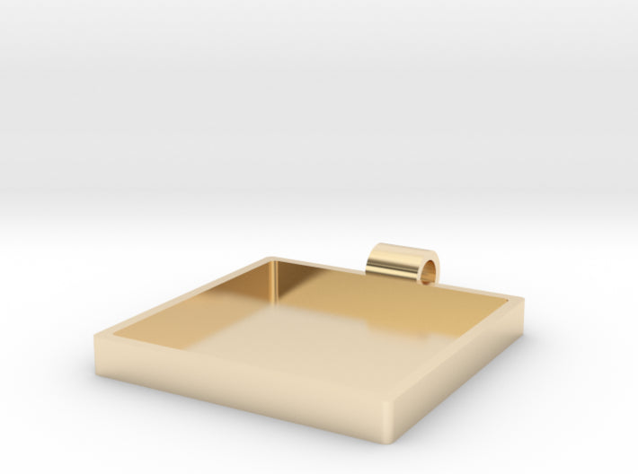 Champleve Rectangle 30mm Frame Pendant 3d printed 14K Gold Plated Brass