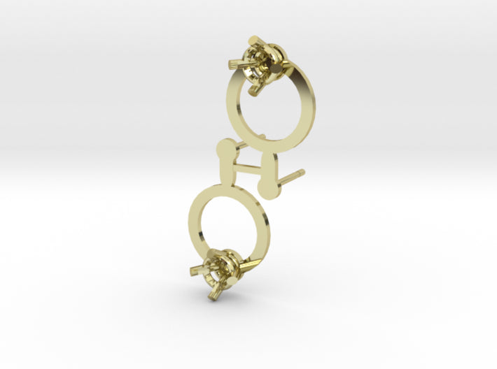 DIY Circle Post Earrings - 1 Pair 3d printed 18K Yellow Gold